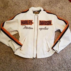 Small white Harley Davidson riding jacket